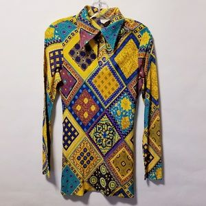 Vintage 60's 70's psychedelic disco top mini dress
